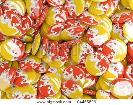 Background With Round Pins With Flag Of Bhutan