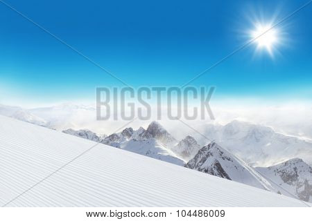 Ski slope in Dolomites mountains