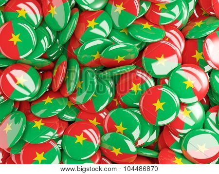 Background With Round Pins With Flag Of Burkina_faso