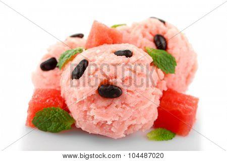 Watermelon ice cream isolated on white