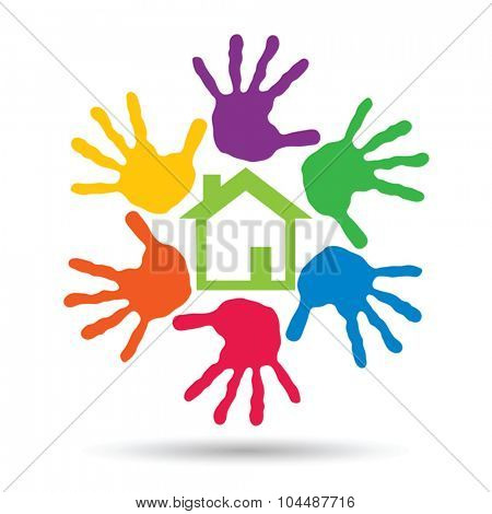 Vector concept or conceptual green house or building sign or symbol with child or human handprints circle isolated on white background