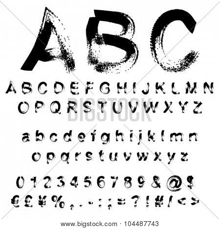 Vector concept or conceptual set or collection of black handwritten, sketch or scribble paint fonts isolated on white background