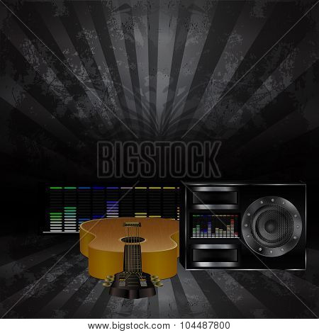 musical background with a guitar and a speaker 3