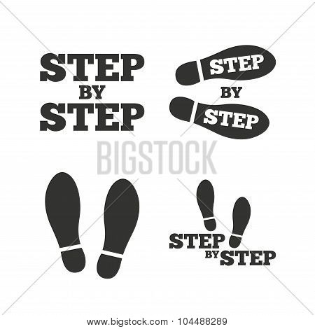 Step icons. Footprint shoes symbols.