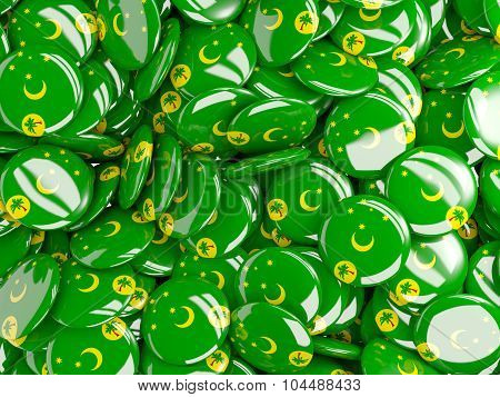 Background With Round Pins With Flag Of Cocos_islands