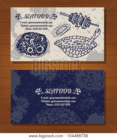 SeaFood business card of delicacies. Fish,octopus and other seafood. Vector