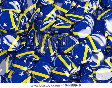 Background With Round Pins With Flag Of Curacao
