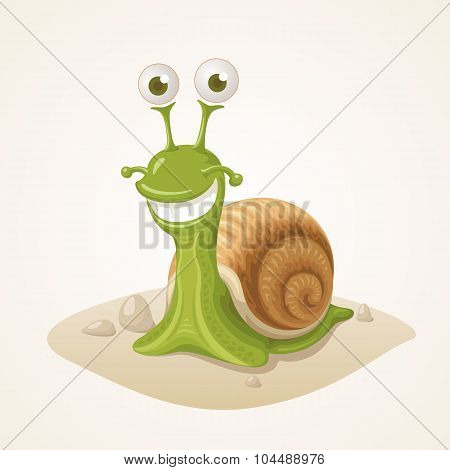 Cute Cartoon Snail On Ground