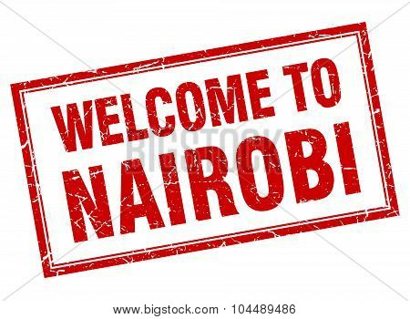 Nairobi Red Square Grunge Welcome Isolated Stamp