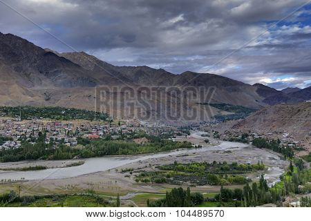 Indus River And Kargil City, Leh, Ladakh, Jammu Kashmir, India