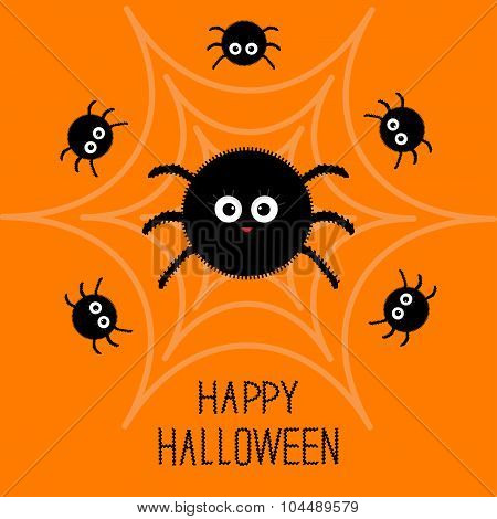 Cute Cartoon Fluffy Spider Set On The Web. Halloween Card. Flat Design.