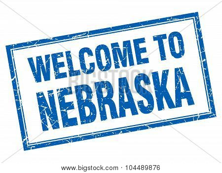Nebraska Blue Square Grunge Welcome Isolated Stamp