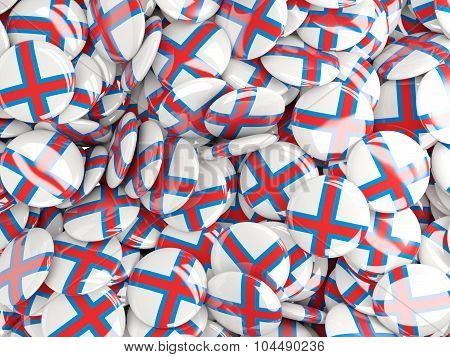 Background With Round Pins With Flag Of Faroe_islands