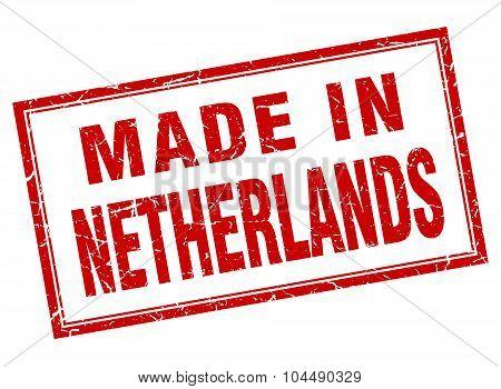Netherlands Red Square Grunge Made In Stamp