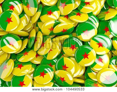 Background With Round Pins With Flag Of French Guiana