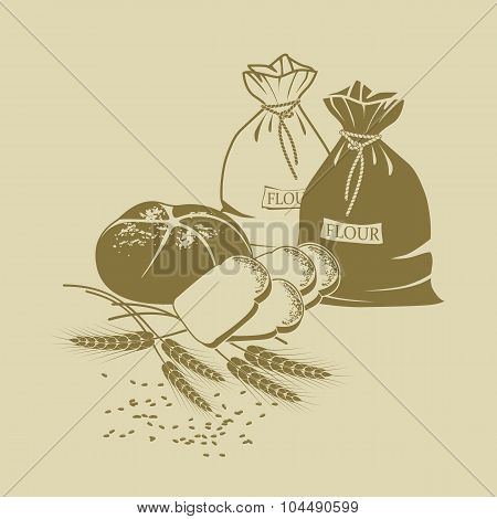 Illustration Of Rye Bread, Toast Bread, Wheat And Sacks Of Flour