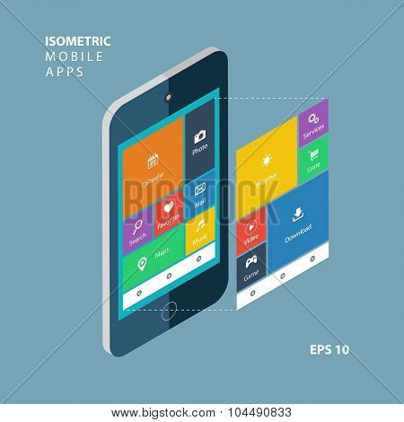 Isometric smartphone with an interface elements. Isometric mobile apps concept.