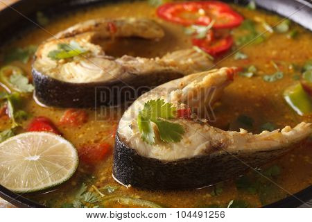 Delicious Spicy Fish Curry With Coriander Macro. Horizontal