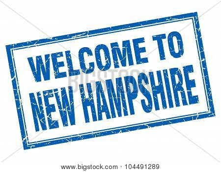 New Hampshire Blue Square Grunge Welcome Isolated Stamp