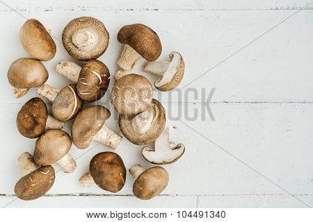 Top View Of Shiitake Mushroom On Wooden Background
