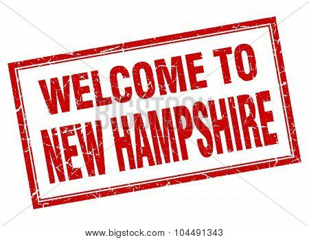 New Hampshire Red Square Grunge Welcome Isolated Stamp