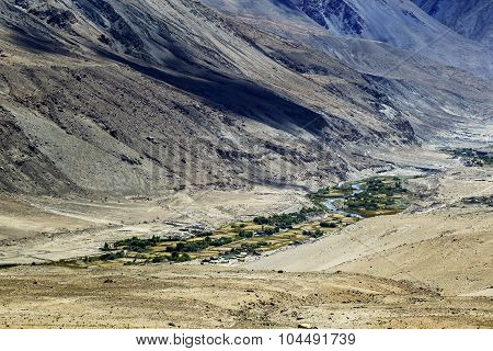 Tangsey Village, Landscape Of Leh, Ladakh, Jammu And Kashmir, India
