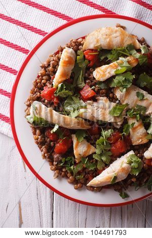 Grilled Chicken With Lentils And Cilantro Close-up. Vertical Top View