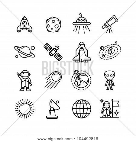 Spase Outline Black and White Icons Set. Vector