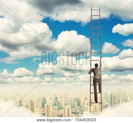 Woman climbing the ladder