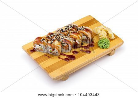Eel Sushi Roll On A Gete (sushi Plate) Isolated On White Background