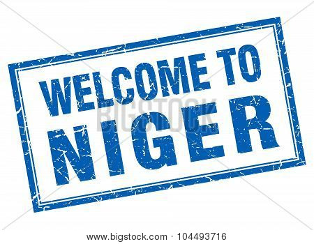 Niger Blue Square Grunge Welcome Isolated Stamp