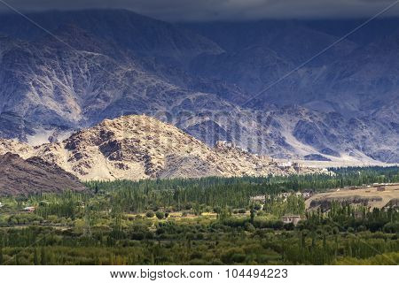 Aerial View Of Leh City, Landscape , Ladakh, Jammu And Kashmir, India