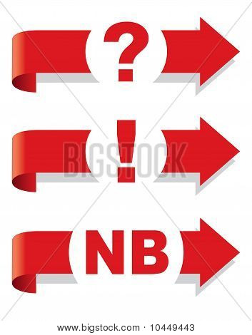 Question, Exclamation And Nota Bene Symbol. Arrow.