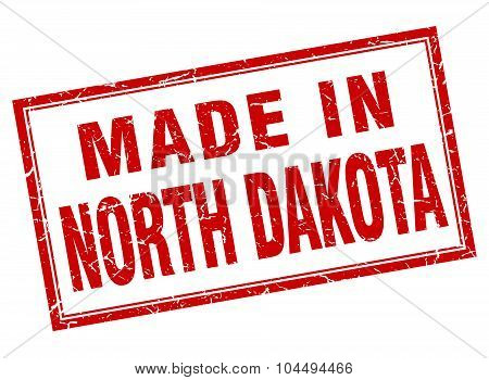 North Dakota Red Square Grunge Made In Stamp
