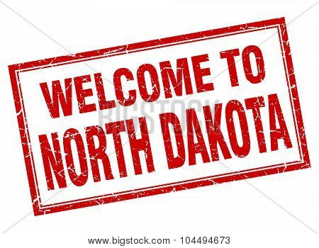 North Dakota Red Square Grunge Welcome Isolated Stamp