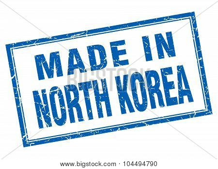 North Korea Blue Square Grunge Made In Stamp