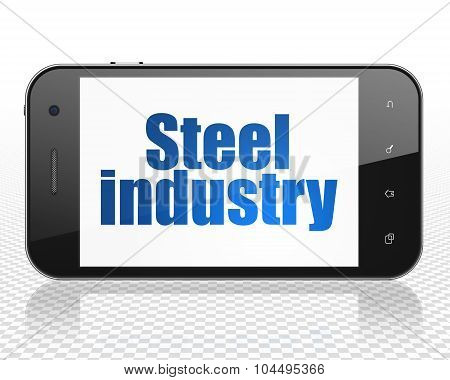 Manufacuring concept: Smartphone with Steel Industry on display