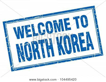 North Korea Blue Square Grunge Welcome Isolated Stamp