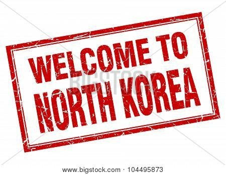 North Korea Red Square Grunge Welcome Isolated Stamp