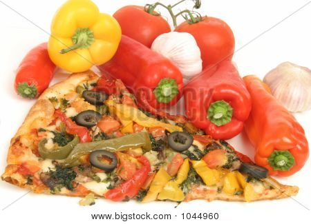Pizza  With Vegetables Isolated