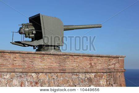 Artillery Gun On Ground Aiming At The Sea