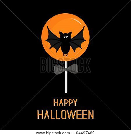 Sweet Candy Lollipop With Bat. Black Bow. Happy Halloween Card. Flat Design