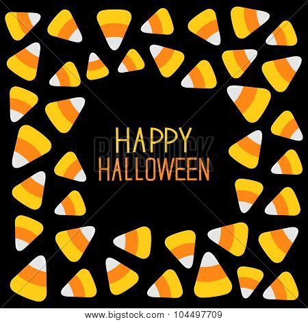 Candy Corn Frame. Happy Halloween Card. Flat Design.