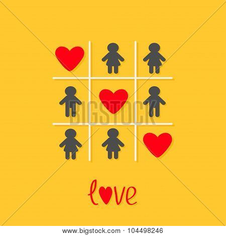 Man Woman Icon Tic Tac Toe Game. Three Red Heart Sign Love Yellow Background Flat Design