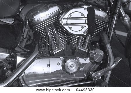 Engine Of Motorcycle In Black And White