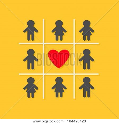 Man Woman Icon Tic Tac Toe Game. Red Heart Sign Yellow Background Flat Design