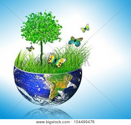 Environmental energy concept, cycling in nature, nature protection