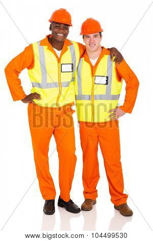 professional young contractors standing on white background
