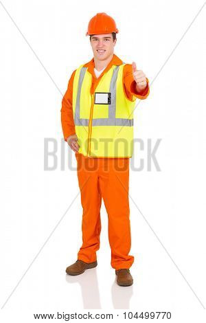 handsome blue collar worker giving thumb up on white background