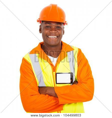 cheerful young african male contractor looking at the camera